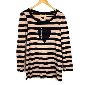 Next Top Tunic Striped Size 8 Tan Black